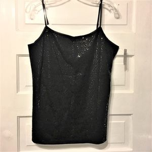 Ann Taylor NWT Sz L Black Cami Sequined Front